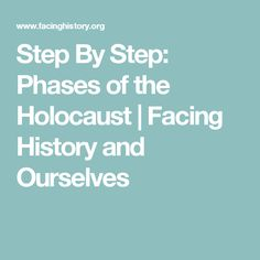 Step By Step: Phases of the Holocaust | Facing History and Ourselves