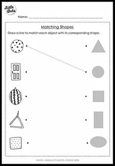Pre-K Math Shapes Worksheets. Shapes worksheets for pre-k level with high-quality images. Shape Worksheets For Preschool, Shapes Worksheet Kindergarten, Nursery Worksheets, Pre K Worksheets, Matching Worksheets, Shapes Worksheets, Preschool Writing, Preschool Learning Activities, Preschool Printables