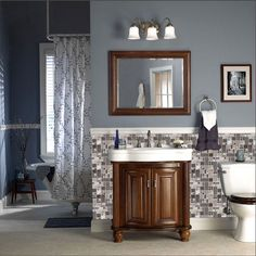 Love this tile backsplash, great bathroom inspiration