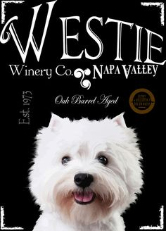 Westie WineryWall Art on CanvasGallery Wrapped by BarkArtPortraits