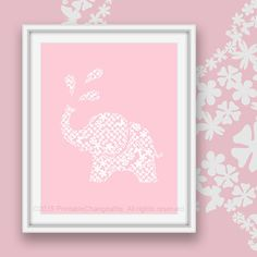 1401e90x08 Pink elephant art printable 01e - Pink 08 - Safari nursery wall art - Girls room decor - Instant download  See this design in