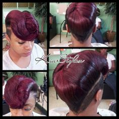 styles by makia.if I only lived in her area. Fancy Hairstyles, Creative Hairstyles, Vintage Hairstyles, Girl Hairstyles, Relaxed Hairstyles, Black Hairstyles, Natural Hair Styles, Short Hair Styles, Mohawk Styles