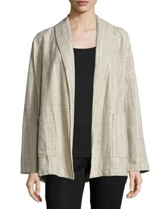 Oversized Cotton Jacket W/Stripes, Natural - Eileen Fisher