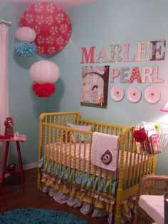 Tina at Cherry Hill Cottage just posted of the painting I made for her soon-to-arrive granddaughter, Marlee Pearl.  What a wonderful nursery!!!