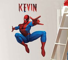 PERSONALIZED Spiderman Decal Removable WALL STICKER By PrintaDream