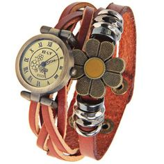 ELY Quartz Watch with 12 Roman Numbers Indicate Leather Watch Band for Women - Brown