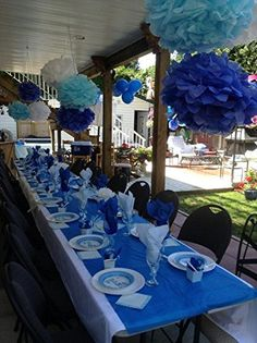 Best baby boy shower table set up pom poms Ideas Baby Shower Decorations For Boys, Boy Baby Shower Themes, Baby Shower Centerpieces, Bridal Shower Decorations, Baby Shower Parties, Baby Boy Shower, Baby Showers, Wedding Decoration, Table Decorations
