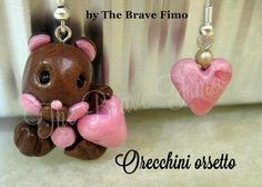 orecchini pendenti con orso e cuoricino in fimo ...Sono Totalmente realizzati a mano Senza stampi e lucidati con apposita vernice Costo: 7 euro
