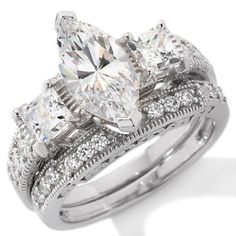 Jewellery - Absolute Sterling Silver Marquise Bridal Set Ring - Ladies Passions