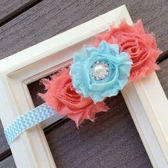 Coral and Aqua Headband, Baby Headband, Flower Headband, Shabby Headband, Pearl Rhinestone, Toddler Headband, Aqua Chevron, Photo Prop. $6.50, via Etsy.