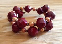 Burgundy and Peach Memory Wire Bracelet; like the color combo