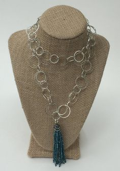 Delicate Silver Chain with Steel Blue Tassel by JustBecauseXOXO