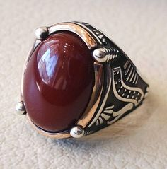 Hommes Argent Or Spartiate Casque Natural Red Agate Gem Joint Tressé Bracelet