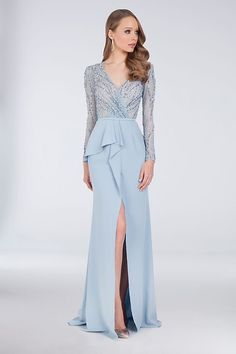 Beaded Bodice Sheath Powder Blue Mother of the Bride Gown with Asymmetric Peplum by Terani Couture available at David's Bridal