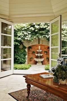Architecture: Wall Fountains In Traditional Landscape With Crown Molding Ideas And French Doors Also Glass Doors And Oriental Rug Plus Water Feature And White Wood Outdoor Areas, Outdoor Rooms, Outdoor Living, Landscaping Around Trees, Backyard Landscaping, Backyard Ideas, Landscaping Ideas, Courtyard Design, Garden Design