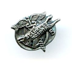 "Vtg Sterling ""St Luke's Hospital"" 5 Year Service Award Lapel Tie Tac Pin by ESCO  $12.95"