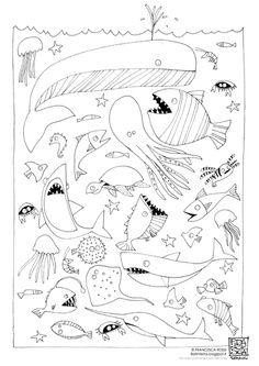 FIORI IN TESTA di Francesca Rossi: DISEGNI DA COLORARE: il mare e l'orso