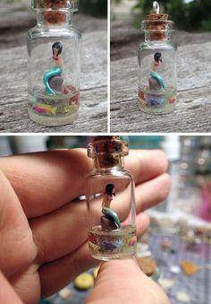 Mermaid in a little bottle pendant by jen4eternity