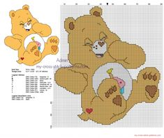 Small back stitch cross stitch pattern Birthday Bear from Care Bears