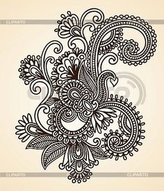 Illustration of Hand-Drawn Abstract Henna Mendie Flowers Doodle Vector Illustration Design Element vector art, clipart and stock vectors. Henna Kunst, Henna Art, Henna Doodle, Paisley Doodle, Mehndi Designs, Tattoo Designs, Drawing Designs, Henna Patterns, Zentangle Patterns