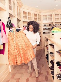 Oprah Winfrey inside her studio closet