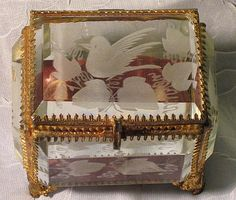 French Etched Bevel Glass Trinket/Jewelry Box with Bird
