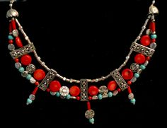 Tribal Jewelry Set, Necklace and Earrings, Natural Gemstones, Blue Turquoise and Red Coral, Silver, Handmade (S16) by LKArtChic on Etsy
