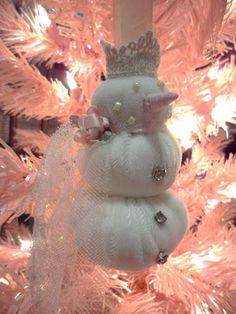 snowgirl from white velvet fabric