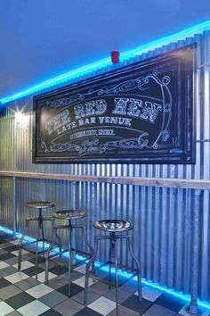 Bar design w/corrugated metal wall & lights. Industrial Apartment, Industrial Bedroom, Industrial House, Industrial Interiors, Industrial Office, Industrial Furniture, Industrial Wallpaper, Industrial Windows, Industrial Shelving