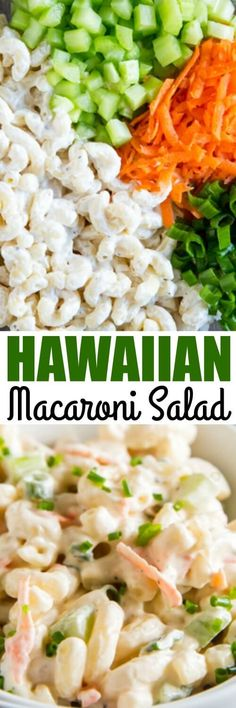 "Authentic Hawaiian Macaroni Salad has soft noodles, creamy dressing, and shredded carrots. It's also part of Hawaii's ""plate lunch.""  via @culinaryhill"