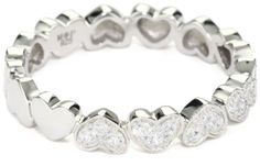 "Myia Passiello ""Timeless Hearts"" Swarovski Pure Brilliance Zirconium Multiple Hearts Ring size 7"