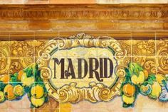 Picture of ceramic decoration on mosaic wall, Spain Madrid theme stock photo, images and stock photography. Flight Attendant Life, Cities In Europe, Tourist Places, Largest Countries, Ceramic Decor, Mosaic Wall, Street Signs, Decoration, Nars
