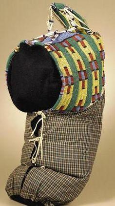 Cradle | Sioux Cowhide Beads Shells Cross Pattern Tree Dweller, 1885-1895