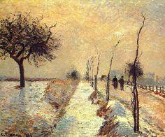 Camille Pissarro (French, 1830-1903) - Road at Eragny , Winter - 1885