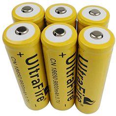 Torche Lampe de Poche Led Kit 4-Pack 18650 Rechargeable 3.7V Batterie