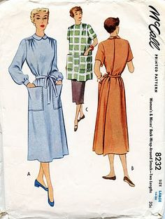 Unsung Sewing Patterns: McCall 8232 - Women's and Misses' Back-Wrap-Around Smock