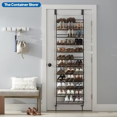 Create out-of-the-way, vertical storage for your shoe collection with our 12-Tier Over the Door Shoe Rack. Made of metal, it provides unmatched storage of both heeled shoes and flats. The patented mounting bracket design allows it to fit easily over doors of any thickness - residential or commercial, and the felt pads ensure that your door won't be damaged. You can even mount it to the wall! Space Saving Hangers, Door Rack, Entryway Organization, Vertical Storage, Center Ideas, Closet Storage, Closet Ideas, Camden, Shopping