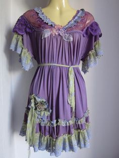 upcycled frilly purple