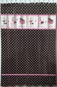 Glamour girl black amp white polka dot fabric shower curtain w pink
