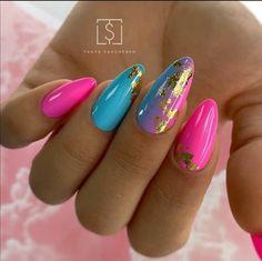 Summer Acrylic Nails, Best Acrylic Nails, Summer Nails Neon, Fabulous Nails, Gorgeous Nails, Stylish Nails, Trendy Nails, Neon Pink Nails, Almond Nails Pink
