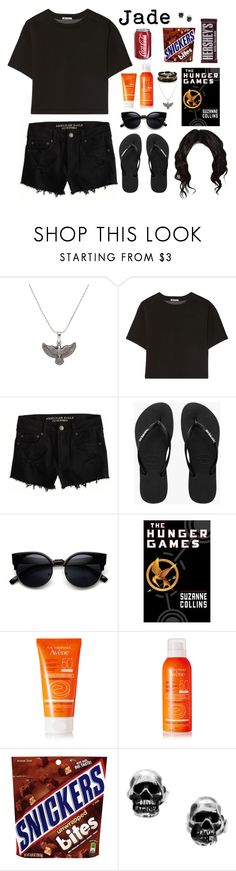 """Jade Victoria"" by anapotato1d ❤ liked on Polyvore featuring Alex and Ani, T By Alexander Wang, American Eagle Outfitters, Havaianas, ZeroUV, Avène, Hershey's, Manuel Bozzi, River Island and women's clothing"
