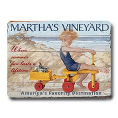 Ready-to-hang birch wood wall art with a vintage-inspired Martha's Vineyard motif.      Product: Wall art   Construction M...
