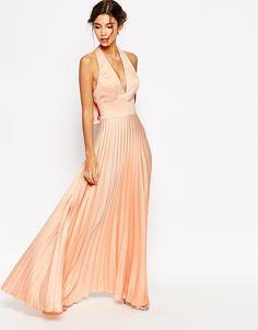 Image 1 ofASOS WEDDING Pleat Deep Plunge Maxi Dress