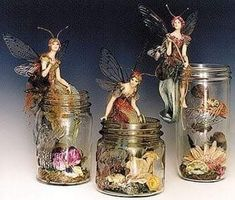 Clay Fairies, Flower Fairies, Fee Du Logis, Cadeau Parents, Fairy Lanterns, Kobold, Fairy Jars, Jar Art, Fairy Crafts