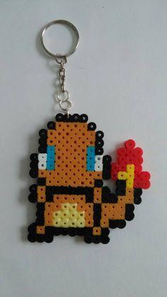 Perler Bead Pokemon Charmander Pokeball Keychain by SpaceMonkeyCreations on Etsy