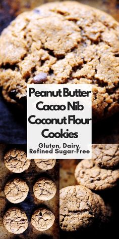Peanut Butter Cacao Nib Coconut Flour Cookies (Gluten-Free, Dairy-Free, Refined Sugar-Free) — MOON and spoon and yum - CocoaBrownie Coconut Flour Cookies, No Flour Cookies, Sugar Free Cookies, Sugar Free Diet, Cookies Et Biscuits, Cookies Sans Gluten, Dessert Sans Gluten, Chunky Peanut Butter, Coconut Peanut Butter