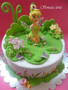 sonata Tinkerbell Birthday Cakes, Fairy Birthday Cake, Birthday Cake Girls, Fondant Cakes, Cupcake Cakes, Bithday Cake, Cake Design Inspiration, Ballerina Cakes, Barbie Cake
