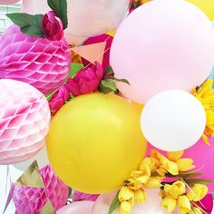 perfect colors in balloon cluster for a garden party