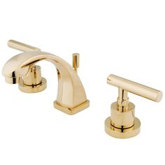 Kingston Brass Manhattan Widespread Bathroom Faucet with Brass Pop-Up Polished Brass Faucet Lavatory Double Handle Brass Bathroom Faucets, Widespread Bathroom Faucet, Lavatory Faucet, Brass Faucet, Kitchen Faucets, Concrete Bathroom, Bathroom Plumbing, Bathroom Ensembles, Kingston Brass