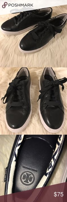 Tory Burch Black Leather Lace Up Sneakers Super trendy black leather sneakers with a thick white sole! These have thick black laces and cute T accents on the back - they still have their protective stickers on them. The soles have minimal marking with two tacks to prevent marks while trying on. Like new condition with some minor flaws. There are some black marks on the sole - easily removed with a magic eraser but I haven't tried. The leather also has some minor scratches on the side as…